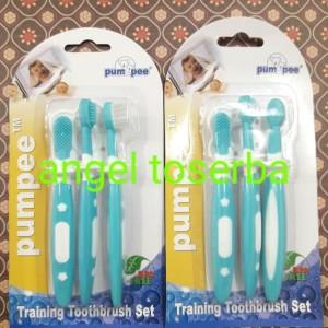 Jual Sikat Gigi Bayi Set 3in1 Pumpee Training Toothbrush Set BPA FREE 478e32bf9a