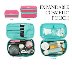 Expandable Cosmetics Pouch Ecp Magenta T Green Dompet Kosmetik Terlaris Tokopedia