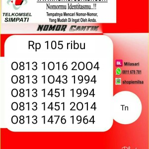 Jual Nomor Cantik simPATI Seri Th 2004-1994-2014-1964 Hoki TM11@