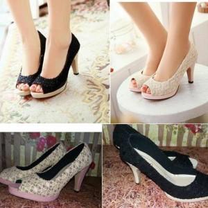 Jual New Sepatu Sandal High Heels Wanita Pantofel Brukat Sdh28 Wanita Cewe .