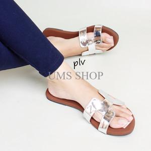 Jual Terbatas Sandal Wanita Flat Teplek Hermes Silver Murah Meriah