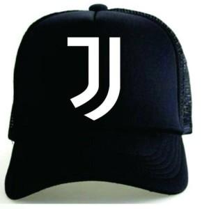 Jual topi trucker logo juventus club bola custom hitam jaring pria cowo f7d0e0004d