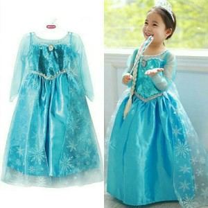 Gaun Elsa Frozen Dress Baju Pesta Impor Tokopedia