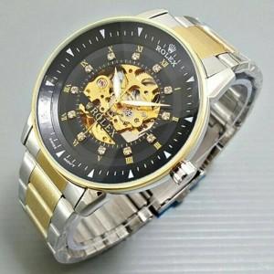 Jual Jam Tangan Pria Rolex Matic Skeleton Omega Rantai Combi Plat Black a7a1cdd0c3