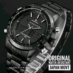 Jam Pria Original Naviforce N9024 Dualtime Tachymeter Black Chain White Stripe Hargajam Harga Jam Tangan Cowok Ori Anti Air Tokopedia