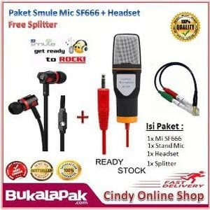 Paket Mic Smule Professional Condenser Studio Microphone Smartphone Smule Recording Tokopedia