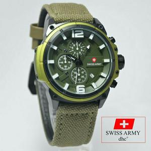 Jam Tangan Pria Swiss Army Kanvas Green (Tanggal & Hari Aktif)