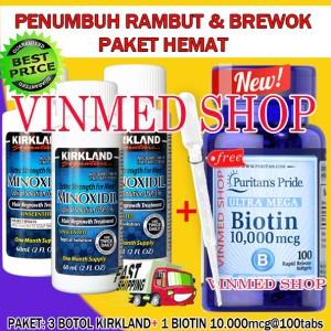 Kirkland Minoxidil 3 Botol+Biotin 10.000mcg@100 Caps+Pipet Plastic