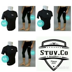 Paket Hemat Baselayer Shortsleeve Dan Celana Legging 3 4 Adidas Nike Tokopedia