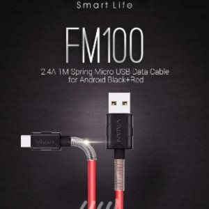 (Dijamin) VIVAN FM100 Data Cable 2.4A 1M Spring Micro USB for Android