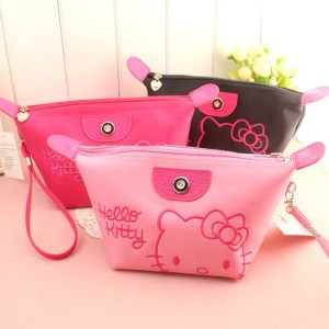 Makeup Bag Hello Kitty Lucu Tas Kosmetik Kulit Sintetis Bordir Tokopedia