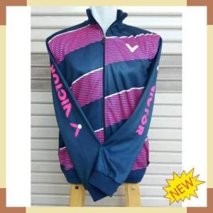 Jaket Badminton Victor Jv 18 Navy Magenta Tokopedia