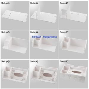 Mh522 Desktop Storage Tempat Tissue Remote Kosmetik Shabby Megahome Tokopedia