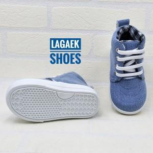 Sepatu Anak Boots Jeans Biru Kotak Tali Usia 2 5 Tahun Tokopedia