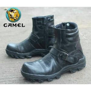Sepatu Pria Camel Zipper Boots Safety Ujung Besi Kulit Sapi Asli Tokopedia