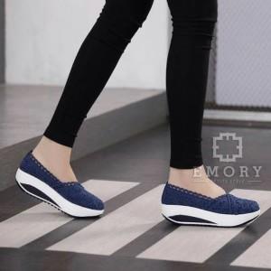 Sepatu Slipon Brukat Dongker Tokopedia