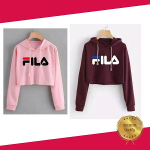 Crop Sweater Filla Tali Serut Bahan Babyterry