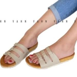 Ariyanty Shop Strip 3 Sepatu Wanita Sandal Gesper Sendal Cream Tan ee9e9fdc14