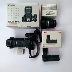 Paket Canon 600d Body Mulus Kit 18 135mm Lensa Makro 60mm Battery Grip Tokopedia