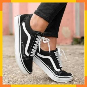 Jual Sepatu Vans Oldskool Hitam Navy Maroon Abu Putih Cowok Cewek Bahan