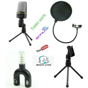 Paket Mic Microphone Condenser Pop Filter Splitter For Smule Vlog