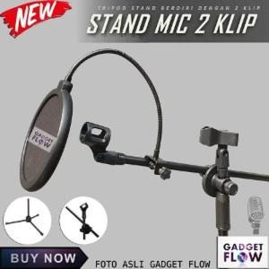 Stand Mic Microphone Berdiri Tripod Smartphone Holder Hp 360 Recording Tokopedia