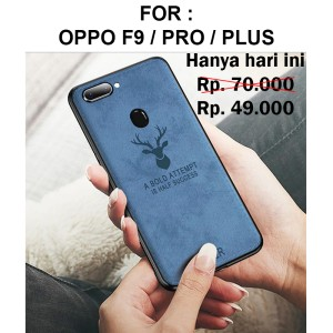 Deer case Oppo F9 Pro Plus softcase casing hp back cover leather tpu