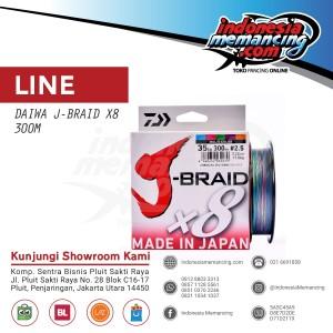 Senar PE DAIWA J-BRAID X8 300M - 35Lbs (Multi Color)