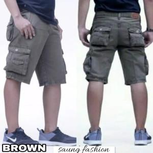 celana cargo pendek brown size 27 - 38