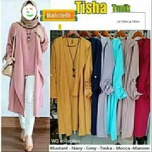 Baju Atasan Wanita Tisha Tunik Blouse Baju Muslim Blus Muslim 56k