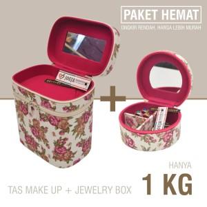 Rromo Paket Hemat Tas Kosmetik Box Perhiasan Pink Shabby Lucu Tokopedia