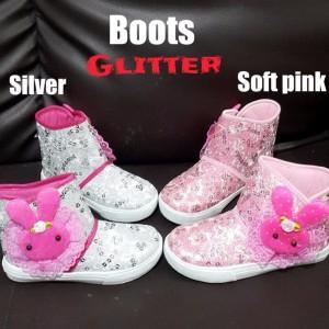 Sepatu Anak Perempuan Boots Glitter Bulu Tokopedia