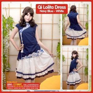 Qi Lolita Dress - Navy Blue Top & White Skirt - Kostum Cheongsam Qipao