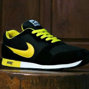 Sepatu Pria Nike Waffle Trainner Hitam Kuning Sport Joging Olahraga Lari Kets Tokopedia