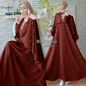 Dress Maxi Maroon Glamour Syari Elegan Dengan Bordir Payet/Gamis Bella