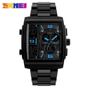 Jam Tangan Pria Skmei Original Model Casio Seiko Black Watch And Gold Water Resistant Ps009 Tokopedia
