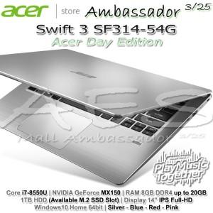 Acer Swift 3 Sf314 54g 379s Intel Core I3 7020u Ram 4gb Hdd 1tb Nvidia Mx150 2gb Windows 10 Pink Tokopedia