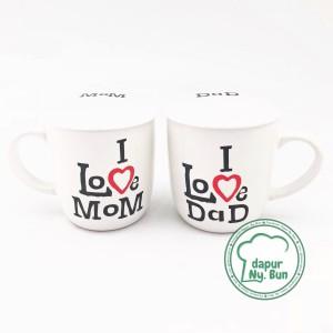 Jual Mug Couple + Tutup I Love Dad / I Love Mom