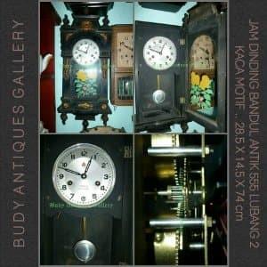 Jam Dinding Bandul Antik 555 Lubang Dua Kaca Motif Gelombang Kode Jda 101a Tokopedia