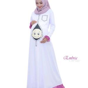 Maxi Dress Hamil Embria Premium Bp2 Putih Tokopedia