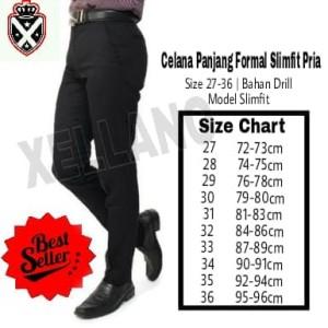 Celana Panjang Formal Xellano Vincen Pria Kantor Slimfit Bahan Drill Hitam Size 28 36 Tokopedia