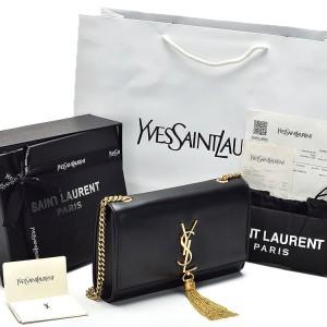 Jual Clutch YSL Classic Kate Tassel Medium Chain Hitam-Gold PL022 8eadb46214