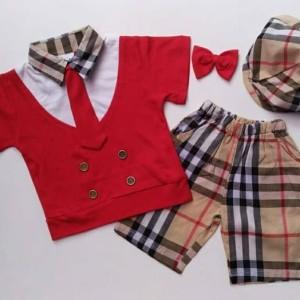 Baju Setelan Anak Bayi Laki Cowok - Burberry Coklat Golf Dasi Topi Pet ca60f5e668