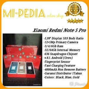 Xiaomi Redmi Note 5 Internal 64gb Rom 4gb Garansi 1 Tahun Tokopedia