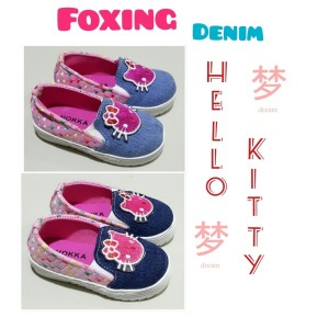 Sepatu Anak Perempuan Foxing Denim Hello Kitty Tokopedia