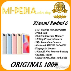 Xiaomi Redmi 6 Ram 3gb Internal 32gb Distributor Global Version Tokopedia