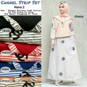 Baju Setelan Wanita Atasan Rok Chanel Strip Set