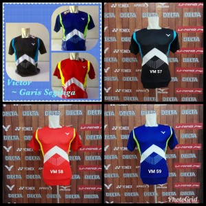Baju Badminton Victor Garis Segitiga Kostum Olahraga Bulutangkis Tokopedia