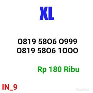 Jual Nomor Cantik Kartu XL 0819 5806 0999 Seri Triple 999 Rapih INJ9