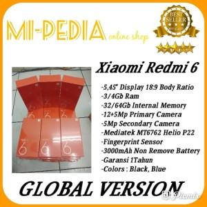 Xiaomi Redmi 6 Ram 3gb Internal 32gb Garansi 1 Tahun Tokopedia